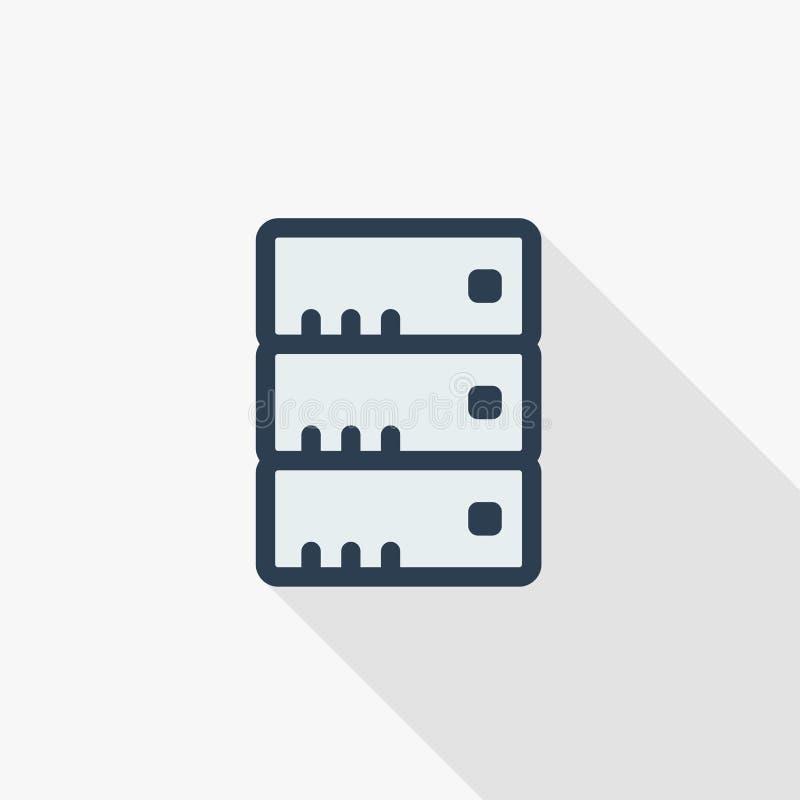 Центр данных, линия плоский значок сервера тонкая цвета Линейный символ вектора Красочный длинный дизайн тени бесплатная иллюстрация
