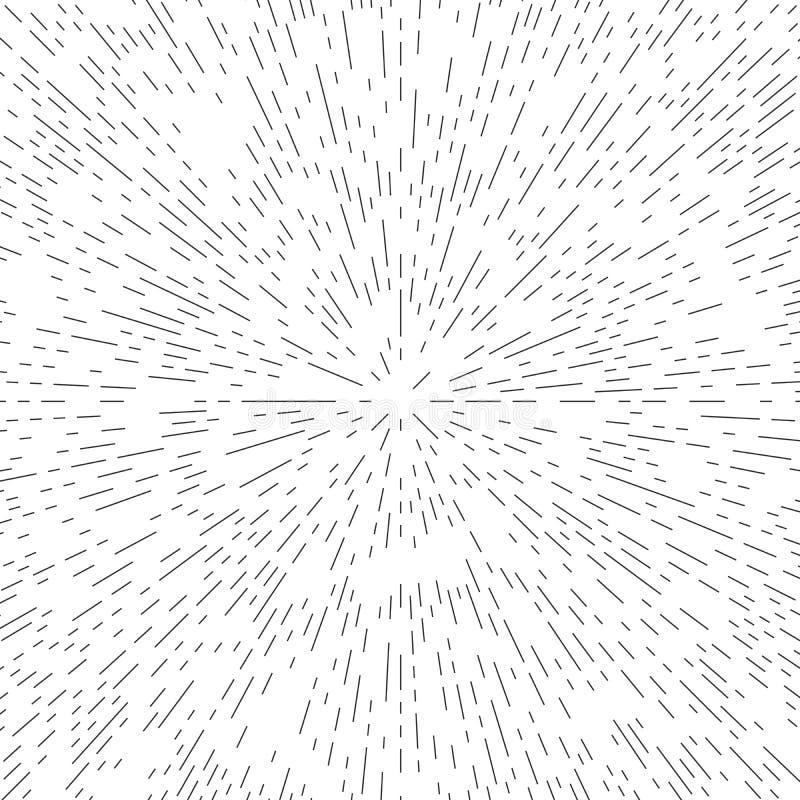 Центр конспекта винтажный круговой указывая sunburst, линии геометрическая предпосылка иллюстрация вектора