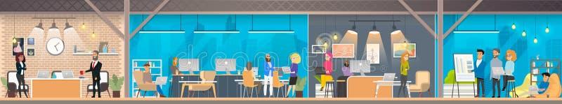 Центр офиса Coworking с трудовым народом вектора бесплатная иллюстрация