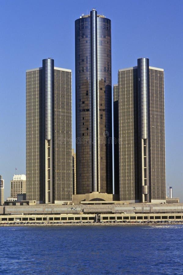 Центр ренессанса, офисный комплекс в городском Детройте, Мичиган небоскреба стоковые изображения rf