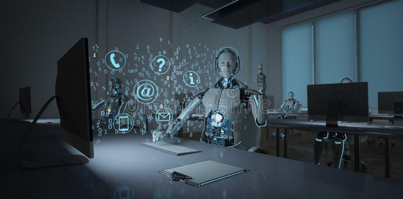 Центр телефонного обслуживания робота гуманоида ок иллюстрация вектора
