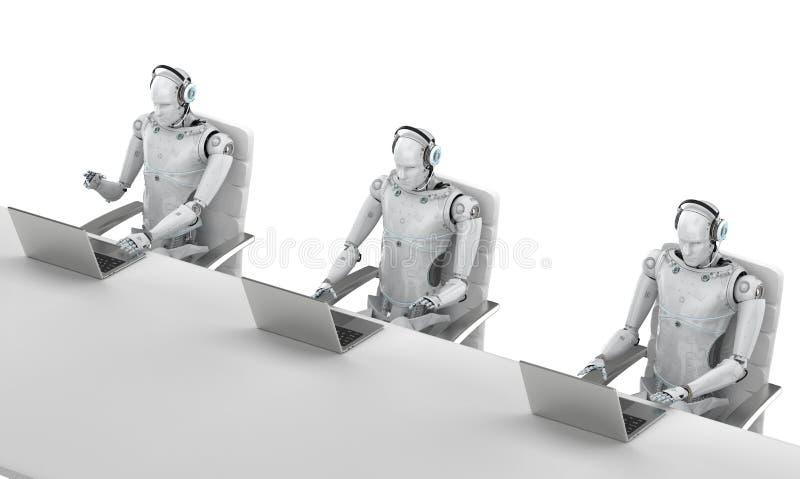 Центр телефонного обслуживания робота иллюстрация вектора