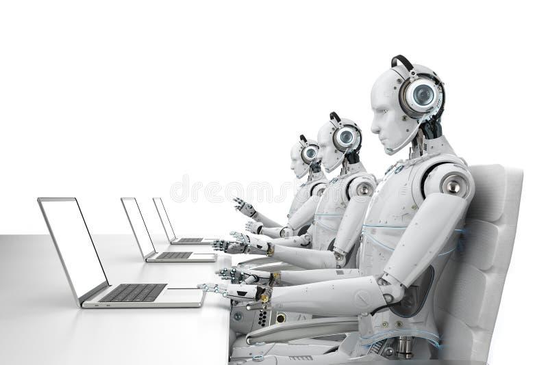 Центр телефонного обслуживания робота иллюстрация штока