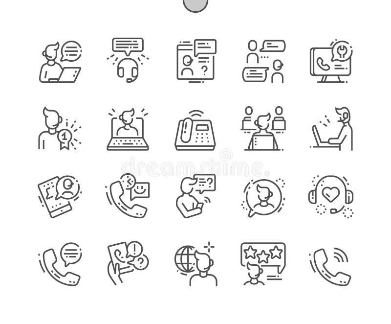 Центр телефонного обслуживания Хорошо произвел линию решетку 2x значков 30 совершенного вектора пиксела тонкую для графиков и App иллюстрация штока