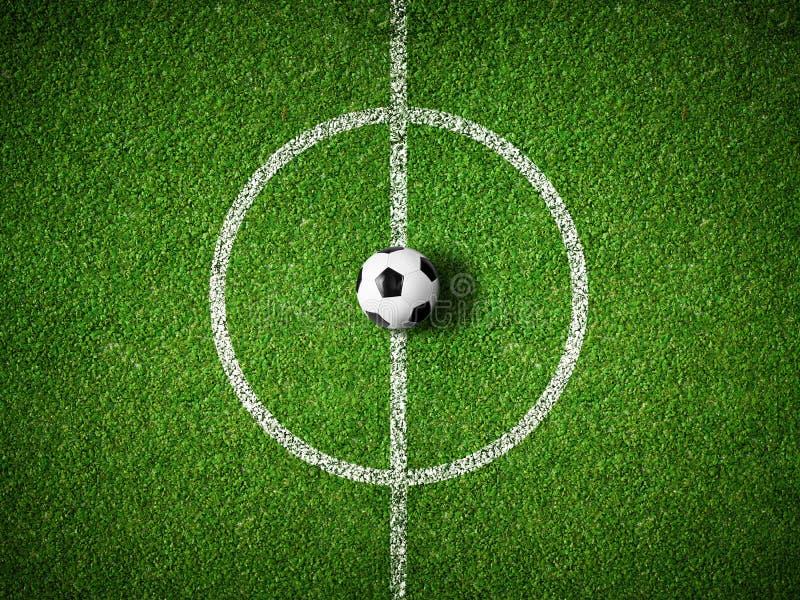 Центр футбольного поля и предпосылка взгляд сверху шарика стоковая фотография