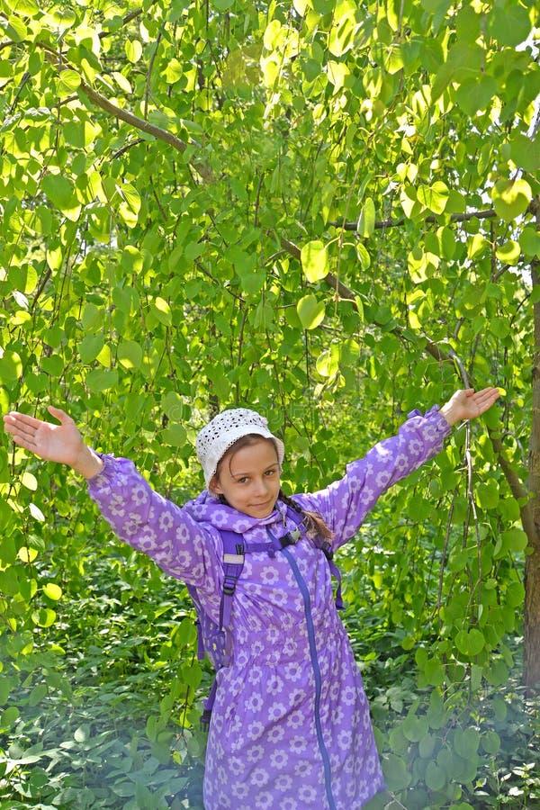 Цены девушки с поднятыми руками на фоне дерева в парке стоковые изображения