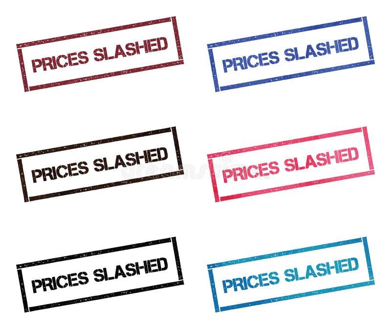 Цены хлестали прямоугольное собрание печати иллюстрация вектора