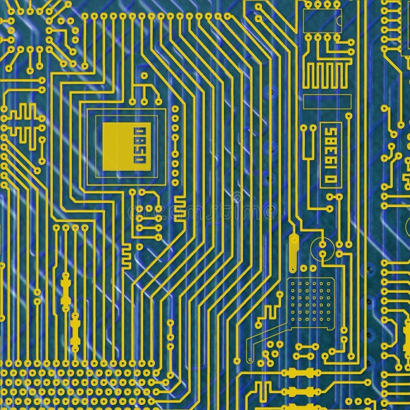 цепи доски предпосылки золотистое голубой электронное иллюстрация штока