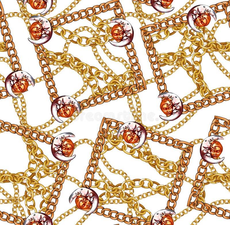 Цепи новой картины моды сезона безшовной золотые конструируют белое бесплатная иллюстрация