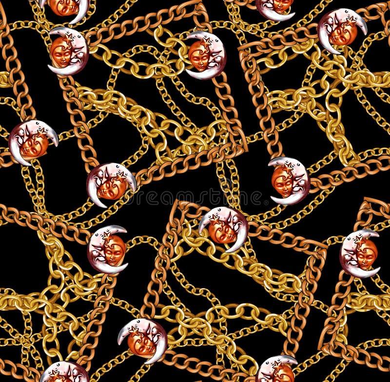 Цепи новой картины моды сезона безшовной золотые конструируют черное бесплатная иллюстрация