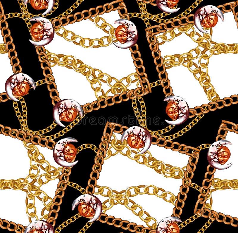 Цепи новой картины моды сезона безшовной золотые конструируют предпосылку иллюстрация вектора