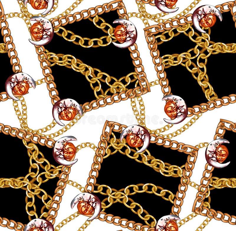 Цепи новой картины сезона безшовной золотые конструируют белую предпосылку иллюстрация вектора