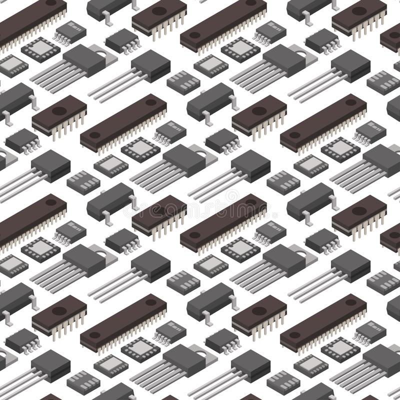 Цепи процессора технологии обломока вектора компьютера микросхемы информационная система материнской платы доски равновеликой эле иллюстрация штока