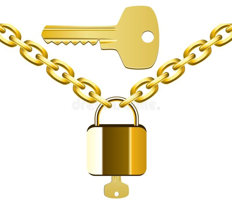 цепной замок золотистого ключа иллюстрация штока
