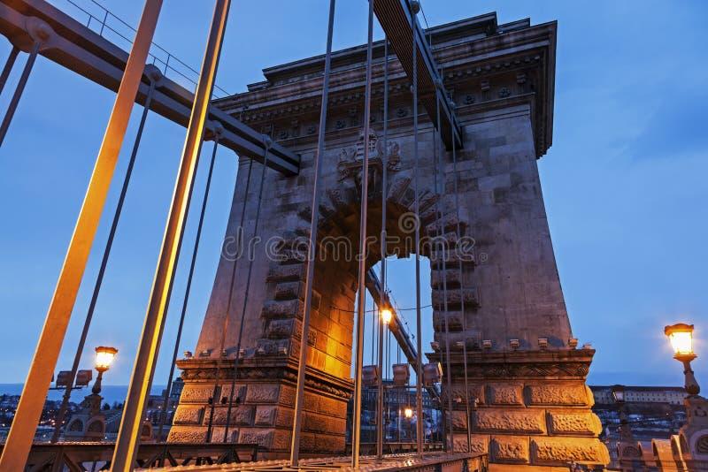 Цепной мост во время восхода солнца стоковая фотография rf