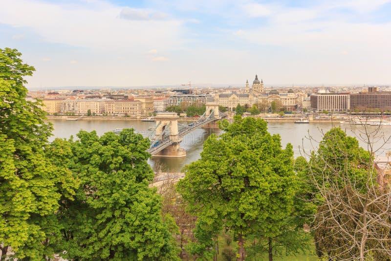 Цепной мост и река Дунай, Будапешт стоковые изображения rf