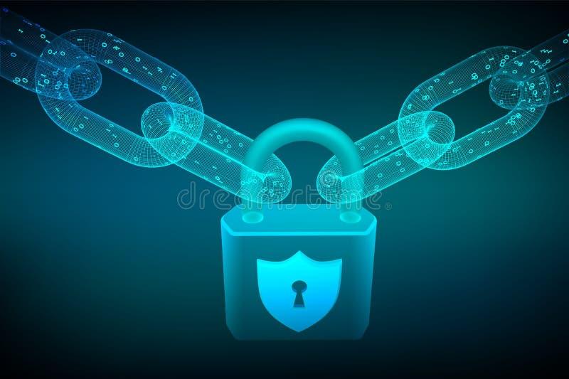 Цепь блока замок Безопасность кибер, сейф, уединение или другая концепция цепь wireframe 3D с цифровым кодом Blockchain иллюстрация штока