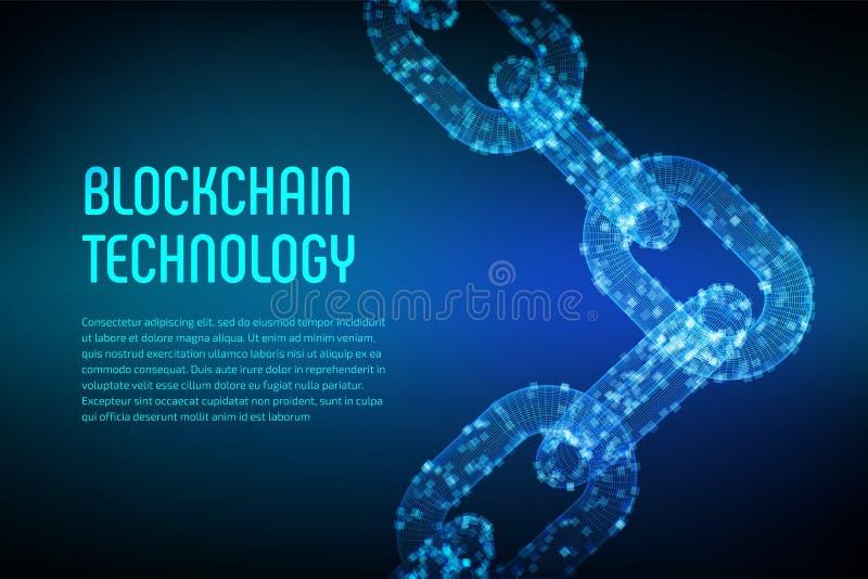 Цепь блока Секретная валюта Концепция Blockchain цепь wireframe 3D с цифровыми блоками Editable шаблон Cryptocurrency шток иллюстрация вектора