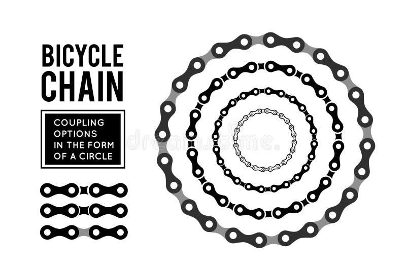 Цепь велосипеда в форме круга конструкция 3D иллюстрация вектора