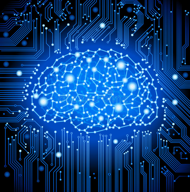 цепь мозга доски предпосылки иллюстрация вектора