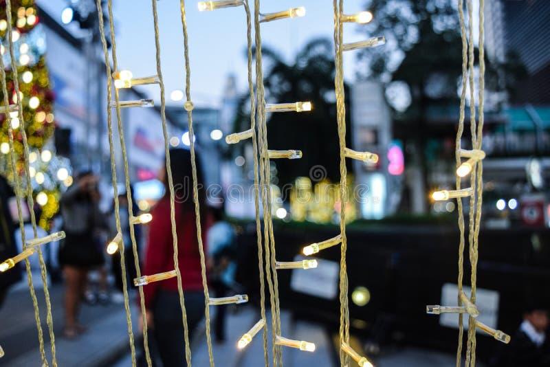 Цепь световых маяков рождества стоковые фотографии rf