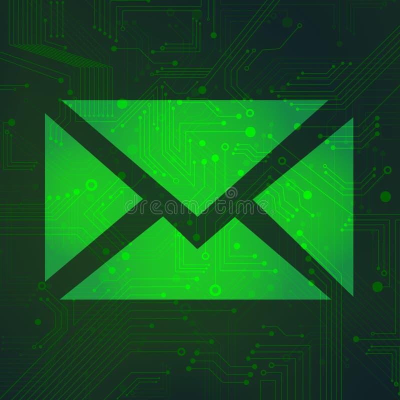 Цепь сообщения над зеленым вектором предпосылки бесплатная иллюстрация