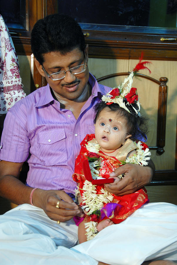 церемония есть первый рис Индии стоковая фотография rf