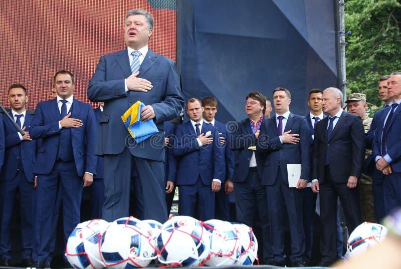 Церемония отклонения национальной футбольной команды Ukrai стоковые изображения rf