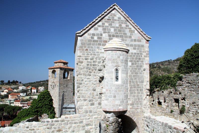 Церковь Адвокатуры городка St Катрин старой - Черногории стоковые фотографии rf