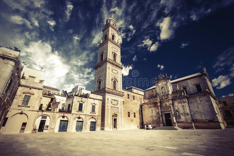 Церковь базилики святого креста Lecce, Италия стоковые фотографии rf