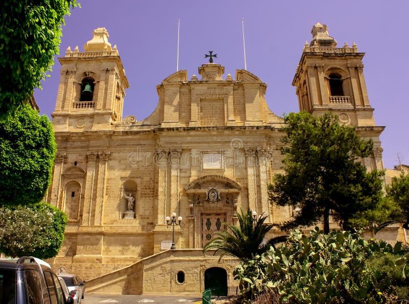 Церковь барокк Валлетты стоковая фотография