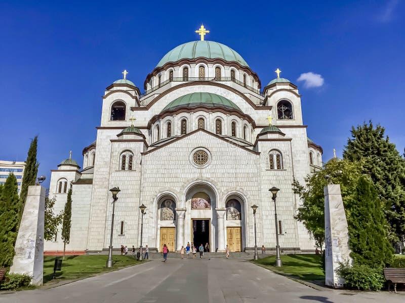Церковь вид спереди Sava Святого стоковые изображения rf