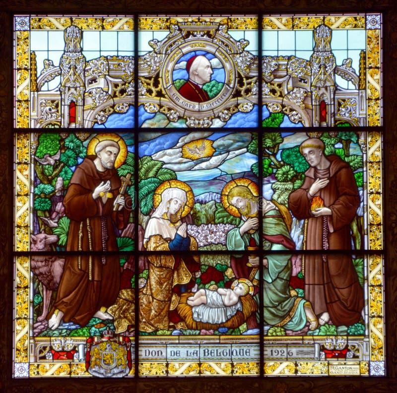 Церковь Вифлеема витража рождества стоковые фото