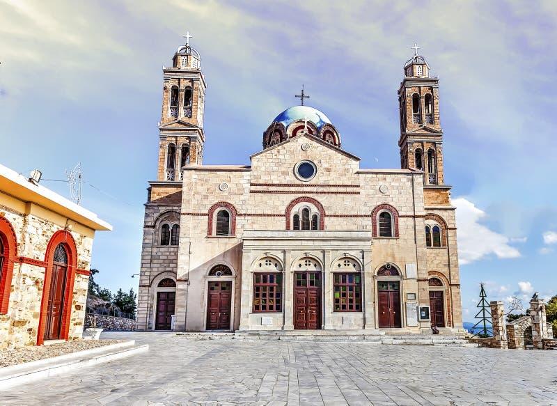Церковь воскресения Христос Ano Syros, Греции стоковая фотография rf