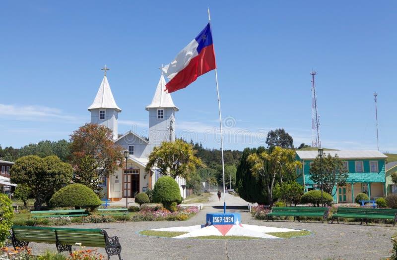 Церковь в деревне Chacao, острове Chiloe, Чили стоковая фотография