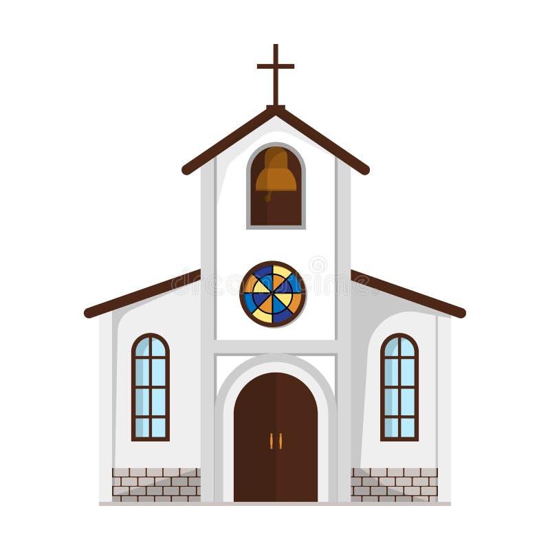 Церковь в которой проведение жениха и невеста обряд перед свадьбой Wedding одиночный значок в шарже вводит символ в моду вектора иллюстрация вектора