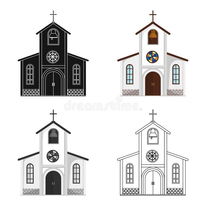 Церковь в которой проведение жениха и невеста обряд перед свадьбой Wedding одиночный значок в шарже вводит символ в моду вектора иллюстрация штока