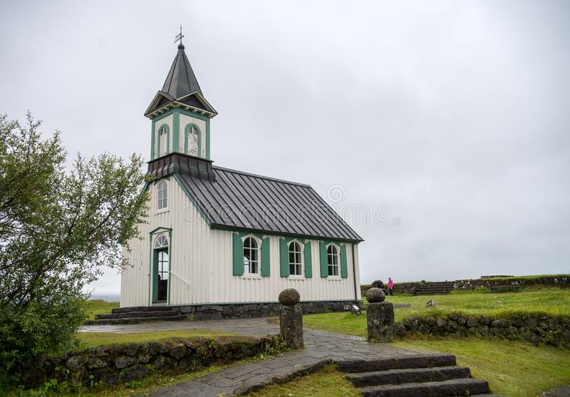 Церковь в национальном парке Thingvellir в Исландии стоковые фотографии rf