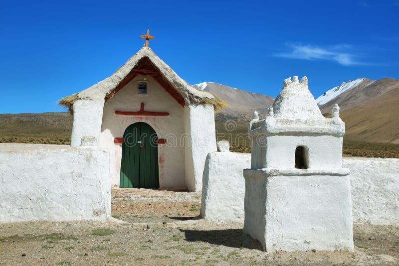 Церковь в национальном парке Isluga вулкана стоковое изображение