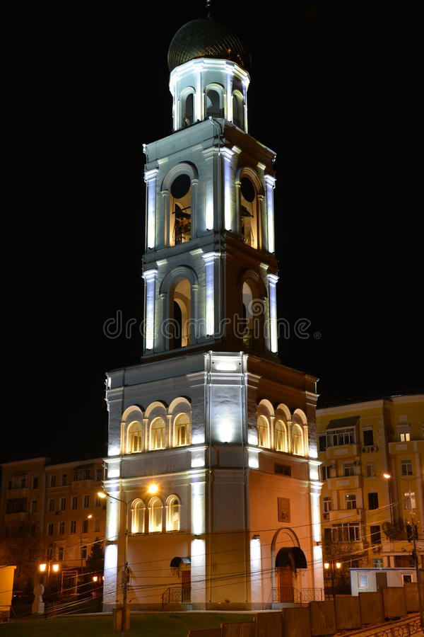 Церковь в самаре ночи стоковые изображения rf
