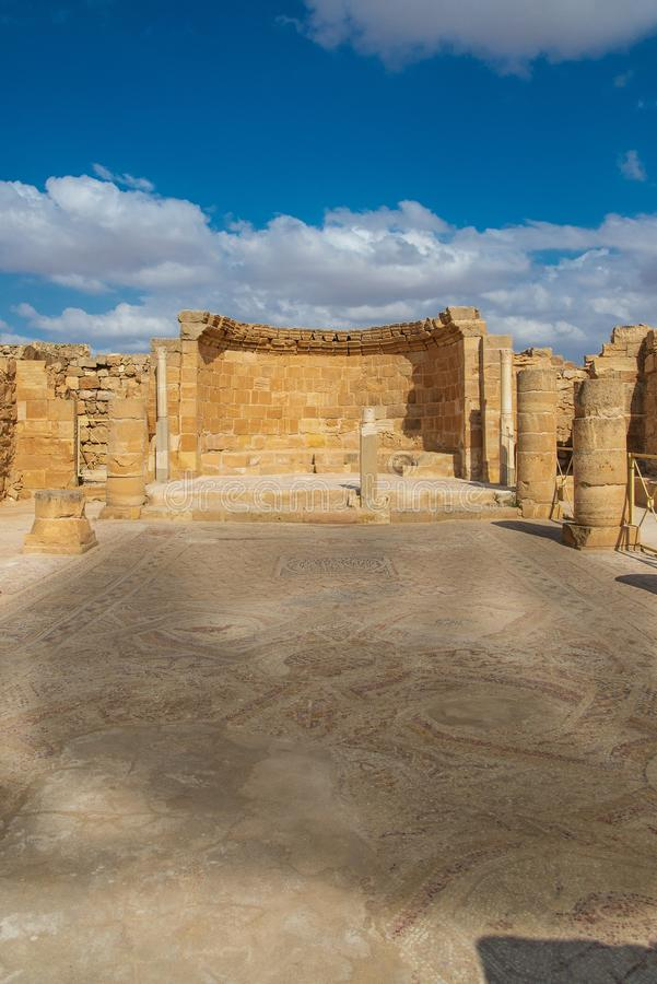 Церковь в старом городе Nabatean Mamshit стоковое изображение