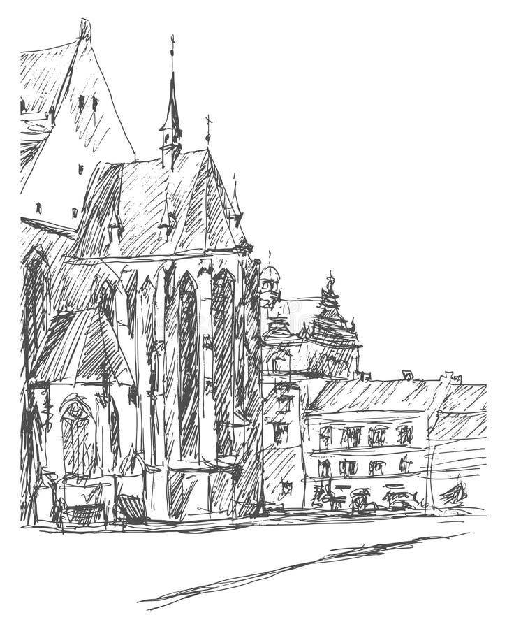 Церковь в старом городке Улица в Pilsen, Богемии Нарисованный вручную эскиз стоковая фотография