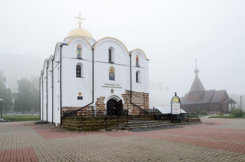 Церковь в туманном утре, Витебск аннунциации, Беларусь стоковая фотография rf