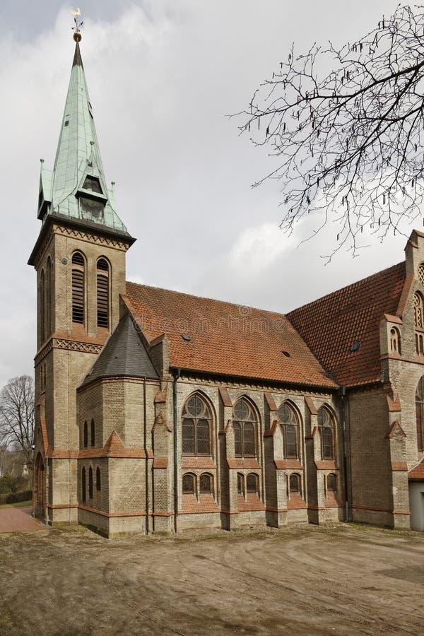 Церковь в Georgsmarienhuette, евангелистская церковь лютеранина от 1877, церковь Luther неоготического стиля в Германии стоковая фотография