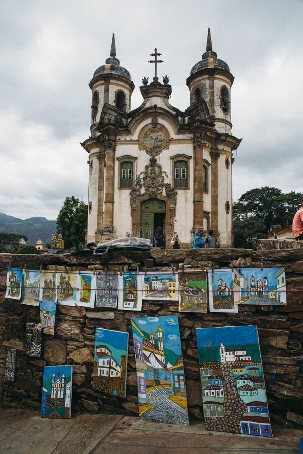 Церковь в Ouro Preto, минах Gerais, Бразилии стоковая фотография rf