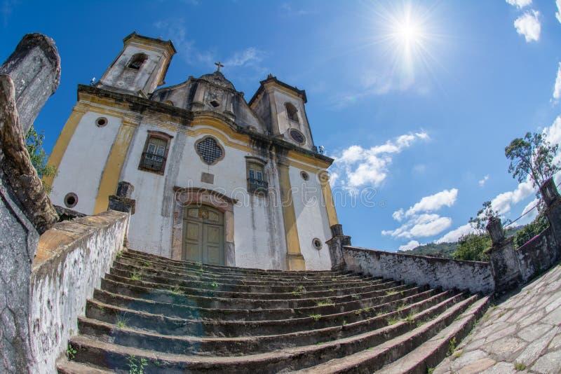 Церковь в Ouro Preto, минах Gerais, Бразилии стоковые фото