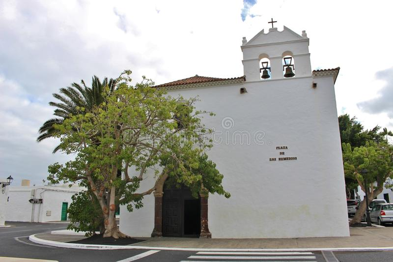 Церковь в Yaiza, Лансароте, Канарских островах, Испании стоковые изображения