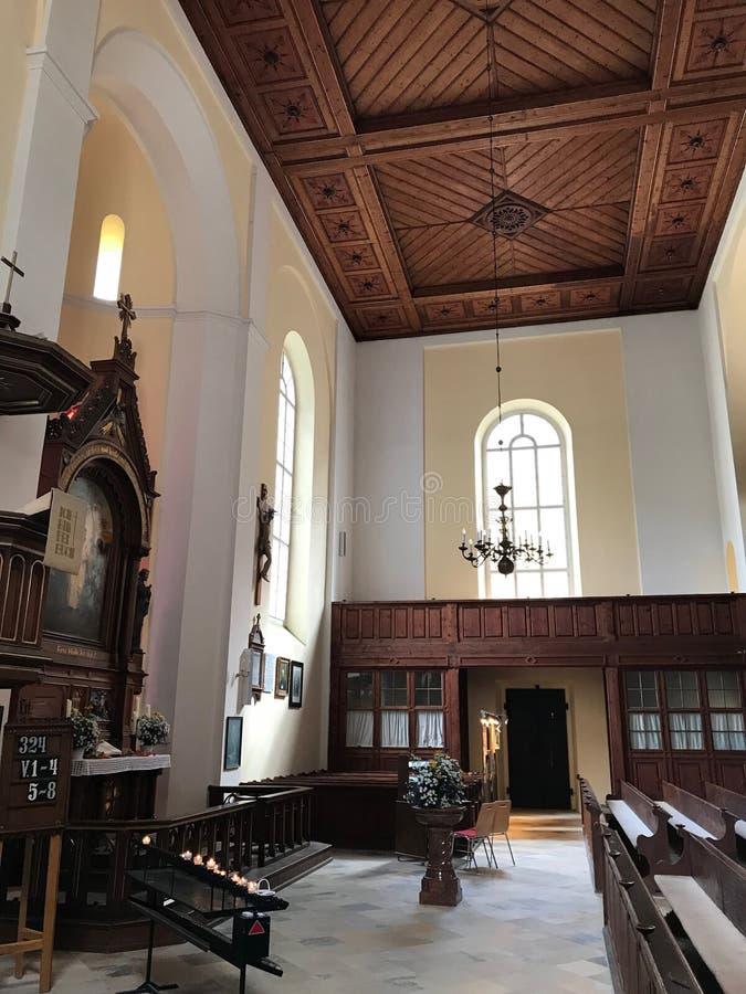 Церковь городка Hallstatt стоковое фото rf
