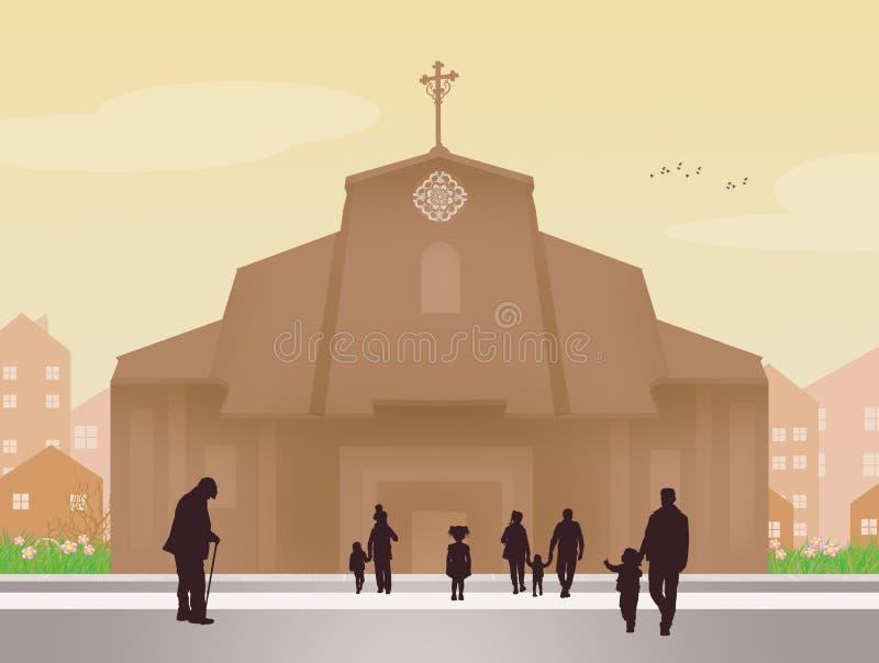 церковь идет люди к бесплатная иллюстрация
