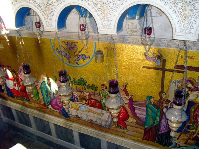 Церковь ИЕРУСАЛИМА, ИЗРАИЛЯ святого Sepulcher Внутренность взгляда стоковые фото